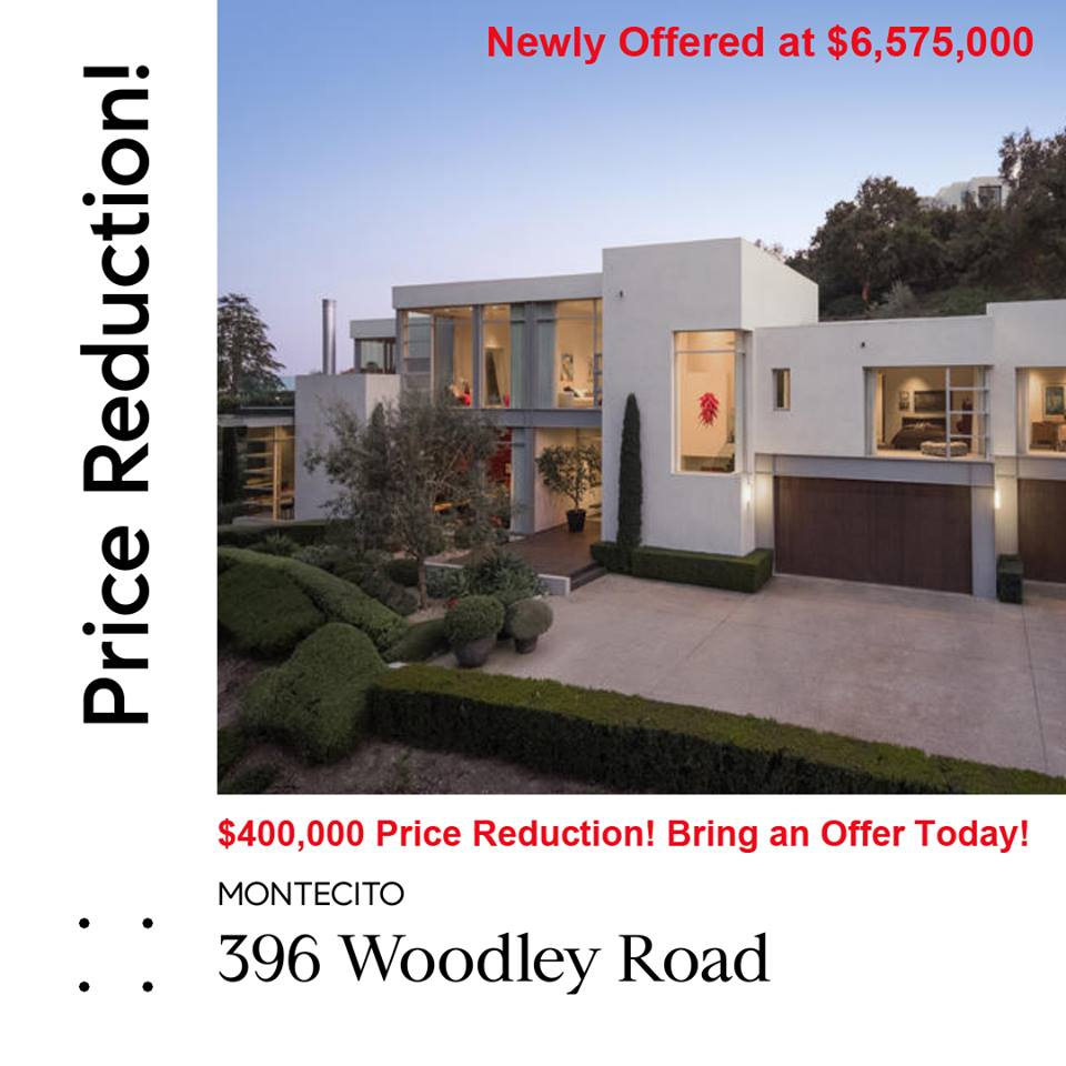 396 Woodley Road Price Reduction Montecito
